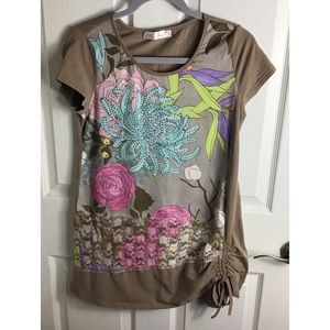 L' Aimee Brown Floral Art Tee Shirt